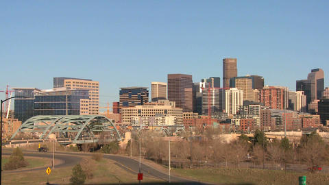 The skyline of Denver Colorado skyline on a sunny  Footage