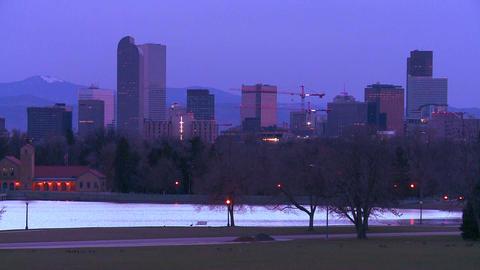 The skyline of Denver Colorado skyline at dusk in Stock Video Footage