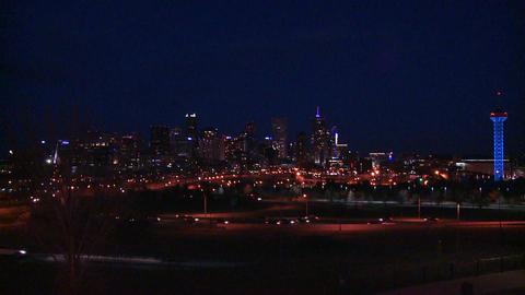 The skyline of Denver Colorado skyline at night Footage