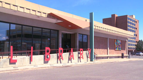 A modern American public library, establishing sho Live Action
