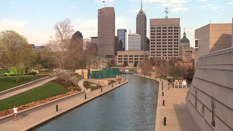 Establishing shot of Indianapolis, Indiana Stock Video Footage