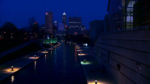 The city of Indianapolis Indiana at night with the Footage