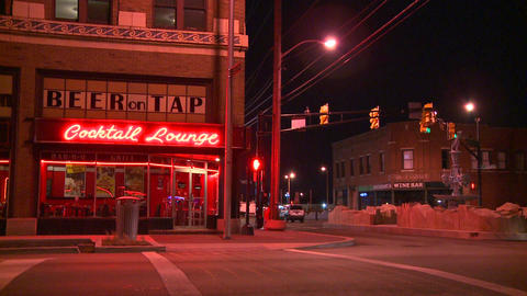 A neighborhood cocktail lounge at night Stock Video Footage