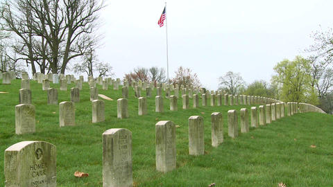 Long rows of graves mark a World War One cemetery Stock Video Footage