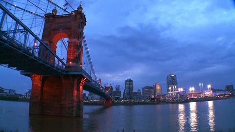 A beautiful panning night shot of Cincinnati Ohio Stock Video Footage