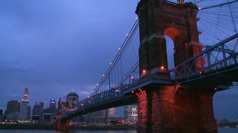 Tilt down to a beautiful night shot of Cincinnati Stock Video Footage