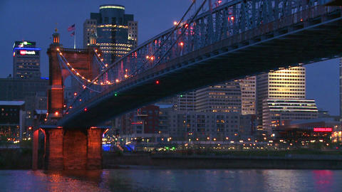 Night with the Cincinnati Ohio skyline background Stock Video Footage
