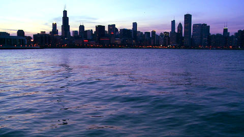 The city of Chicago at twilight Stock Video Footage