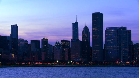 The city of Chicago skyline at twilight Footage