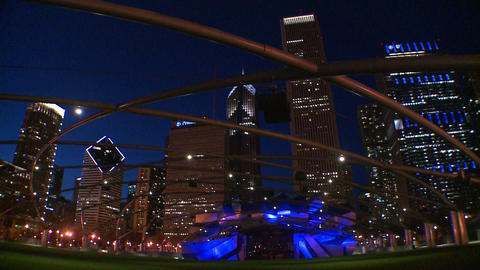 Downtown Chicago skyline at night from Millennium  Footage