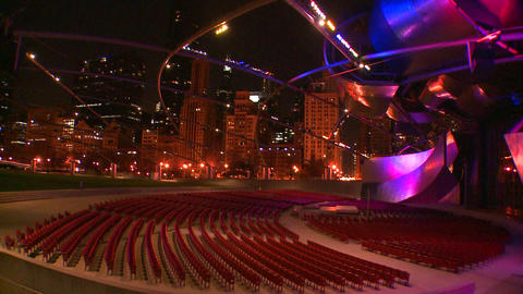 Nighttime shot of the Jay Pritzker Pavilion in Chi Stock Video Footage