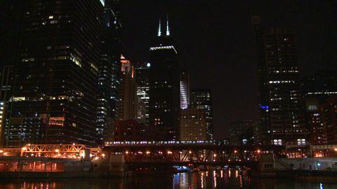 A beautiful nighttime shot as the El train crosses Footage