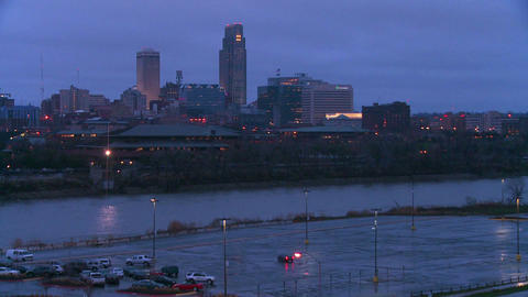 Nighttime in Omaha, Nebraska Stock Video Footage