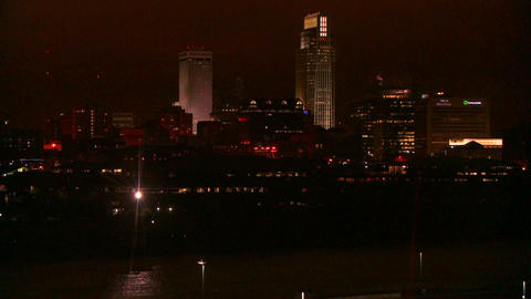Nighttime in Omaha, Nebraska Stock Video Footage