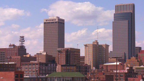 Clouds drift over the Omaha Nebraska skyline Stock Video Footage