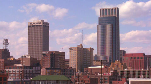 Clouds drift over the Omaha Nebraska skyline in ti Stock Video Footage
