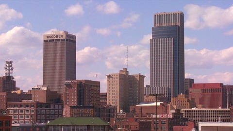 Clouds drift over the Omaha Nebraska skyline in ti Footage