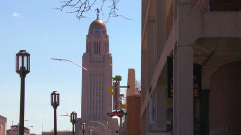 An establishing shot of Lincoln Nebraska Footage