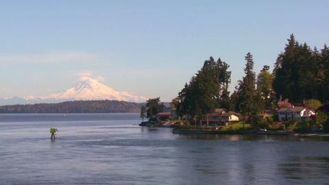 Shot of Bainbridge Island, Washington from the Sea Stock Video Footage