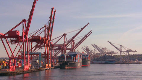 The city of Seattle harbor and port Stock Video Footage