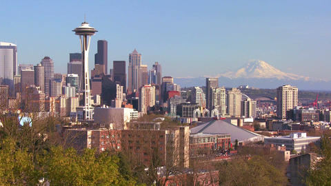 An establishing shot of Seattle with the Space Nee Footage