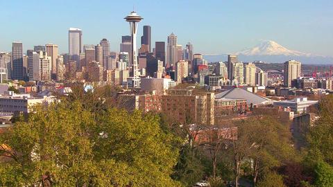 Beautiful establishing shot of Seattle Washington Stock Video Footage