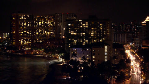 A time lapse shot of Honolulu by night Footage