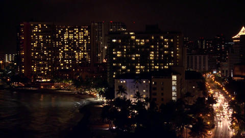 A time lapse shot of Honolulu by night Stock Video Footage