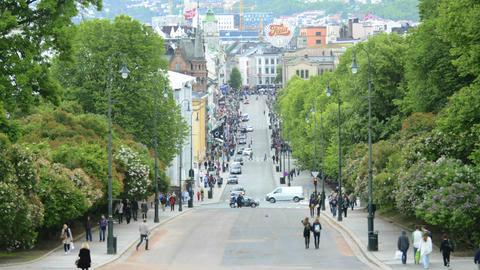 Time lapse of people walking on Karl Johans Gt. in Stock Video Footage