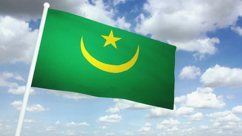 Flag Mauritania 02 Stock Video Footage