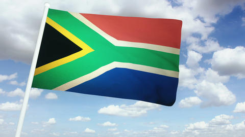 Flag South Africa 02 Stock Video Footage