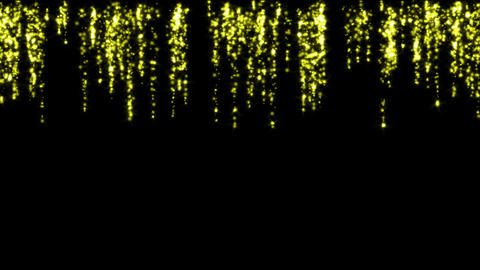 falling yellow particles fireworks at night,waterfall... Stock Video Footage