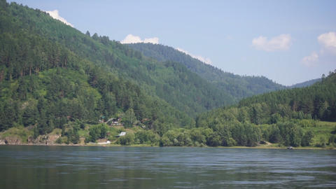 River Yenisei shore view Stock Video Footage
