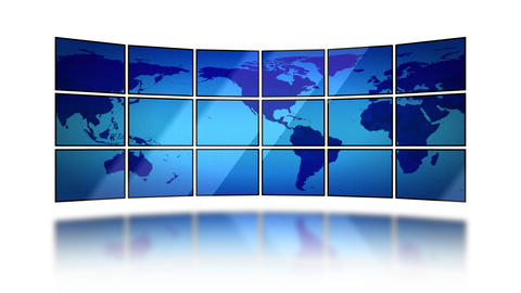 World map moving on screens on white background. S Stock Video Footage