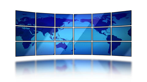 World Map Moving On Screens On White Background. S stock footage