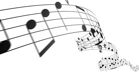 Music notes in 3d. HD. Loopable Animation