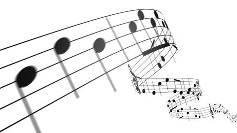Music notes in 3d. HD. Loopable Stock Video Footage