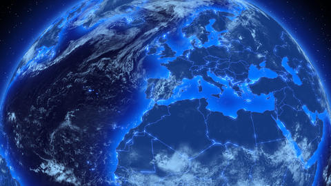 Beautiful Blue Earth with flashing state borders s Stock Video Footage