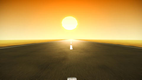Two-lane looping road with sunset, motion blur. HD Animation