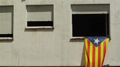 Catalonia Flag in Window Spain 2 Stock Video Footage