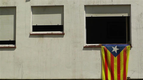 Catalonia Flag in Window Spain 2 Footage