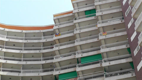 Catalonia Flags on Building Fences Stock Video Footage