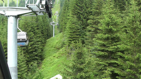 European Alps Kitzbuhel Austria Aerial 45 cable ca Stock Video Footage