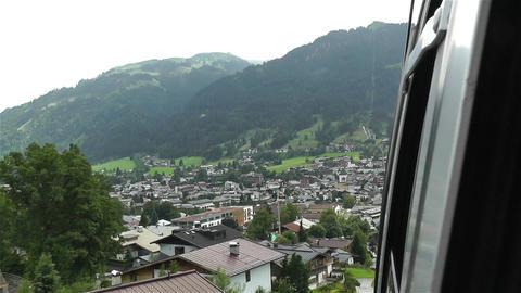 European Alps Kitzbuhel Austria Aerial 55 cable ca Stock Video Footage