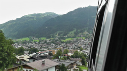European Alps Kitzbuhel Austria Aerial 55 cable ca Stock Video Footage