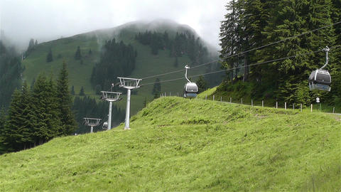 European Alps Kitzbuhel Austria Cable Car 1 Stock Video Footage