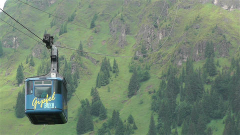 European Alps Kitzbuheler Horn Austria 2 cable car Stock Video Footage