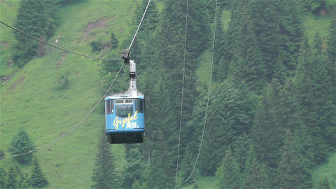 European Alps Kitzbuheler Horn Austria 3 cable car Stock Video Footage