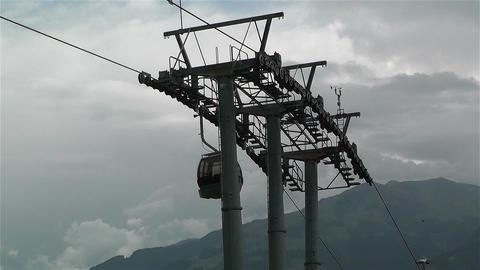 European Alps Kitzbuheler Horn Austria 7 cable car Stock Video Footage