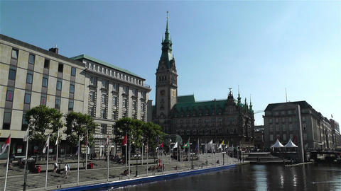 Hamburg Downtown Germany 4 rathaus kleine alster Stock Video Footage